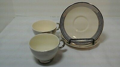 Set Of 2 Taylor Smith And Taylor Silver Platinum Ring Cups And Saucers And