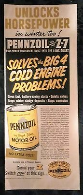 PENNZOIL MOTOR OIL AD FROM SATURDAY EVENING POST 1950's