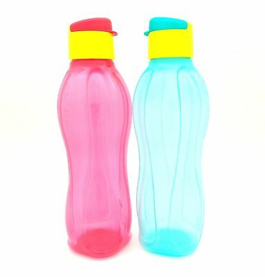 Tupperware Eco Bottle Flip Top Water Drink 750ml Green Red With Pouch Set