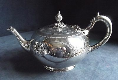 SUPERB Victorian ENGRAVED ~ SILVER Plated ~ Bulbous TEAPOT ~ c1890