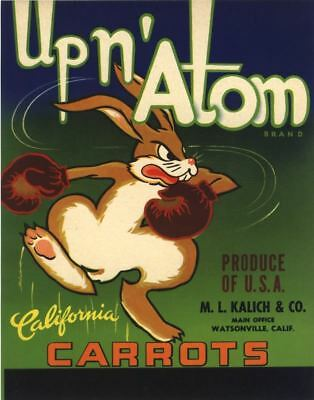 Crate Label Up N Atom Boxing Bunny Rabbit Watsonville Original Vintage 1950S