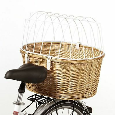 Bicycle handwoven Dog Basket Wicker Stable Luggage Rack EBike Pet Travel Carrier