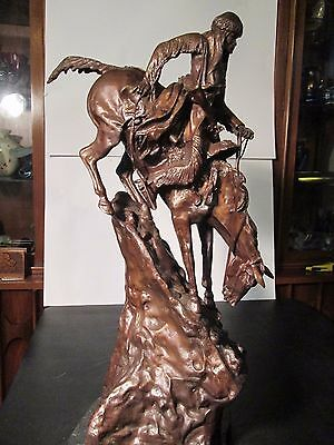 """Large Frederic Remington """"Mountain Man"""" Bronze Statue 28.5"""" Tall Early not orig."""