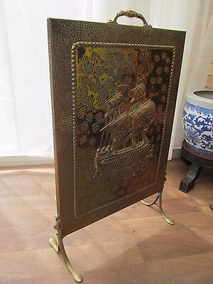 "Vintage  Fire Screen Brass Plate Embossed Galleon Ship Height 26"" Width 17"""