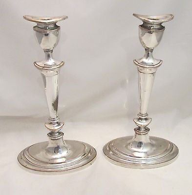 A Fine Pair of Large Old Sheffield Plate Candlesticks - Canoe Shape - c1800