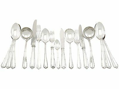 Vintage Sterling Silver Canteen of Cutlery for 12 Persons 116 Pieces 1973