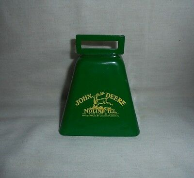 John Deere Implements Moline Il Ill Advertising Green Metal Cow Bell