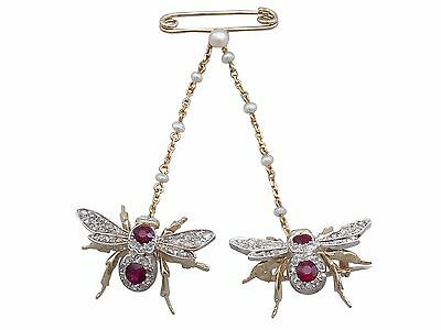 Antique Victorian 1.10Ct Ruby & Opal 0.78Ct Diamond & 15k Gold Bee Brooch C1890
