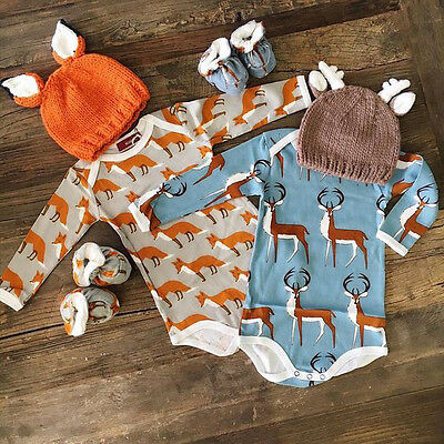 UK Stock Newborn Baby Boy Girls Romper Jumpsuit Bodysuit Clothes Outfit Set
