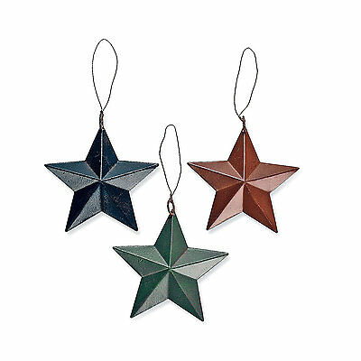 12 Fun RUSTIC TIN BARN STAR ORNAMENTS Dozen Metal Christmas Tree Gift Decor