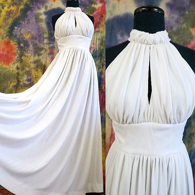 VTG 70's Boho Off White Wedding Halter Dress Ruched Bodice Draped Maxi Gown S