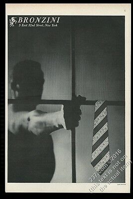 1951 man in shadow photo by Alan Fontaine Bronzini men's tie vintage print ad