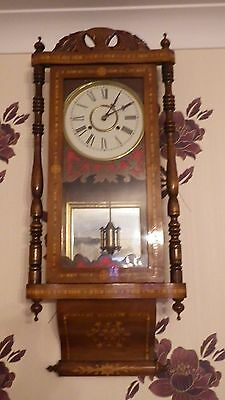 Victorian Antique Wall Clock Large Clock Inlaid Case With Pendulum 89Cm Tall
