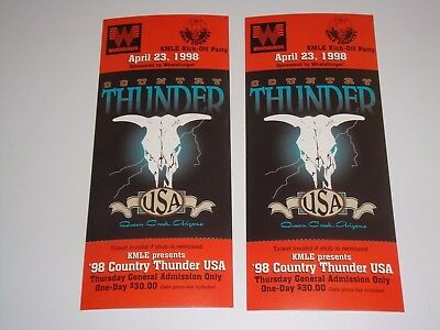 Country Thunder 2 Original 1998 Unused Concert Tickets Kmle Party Usa