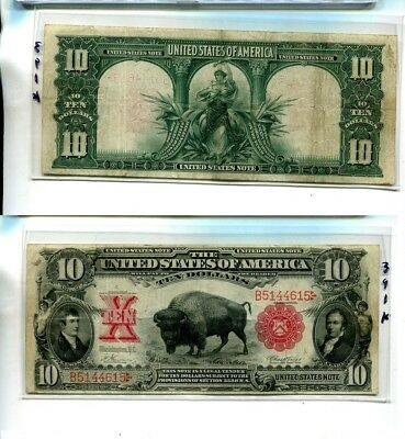 1901 $10 Buffalo Large Size Currency Note Vf 391K