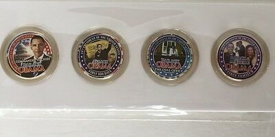 (4) Presidential State Quarters 24K Gold Plated Coins Colorized #44 Barack Obama
