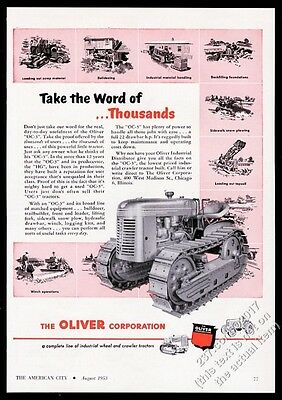 1953 Oliver tractor OC3 OC-3 crawler photo vintage trade print ad