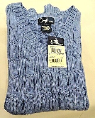 New With The Tag! Boy's Ralph Lauren Powder Blue Cable Knit Vest. Size 8.