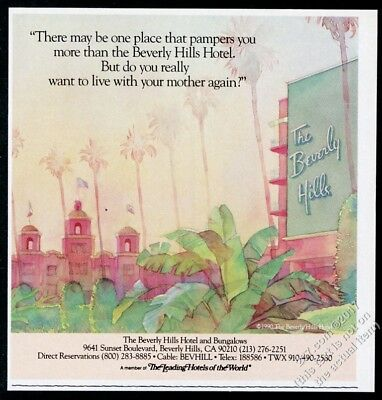 1990 Beverly Hills Hotel illustrated vintage print ad 2