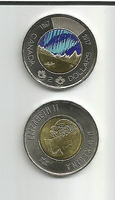 NEW 2017 Canadian 2 dollar toonie Glow in the dark Northen Light Uncirculated Mt