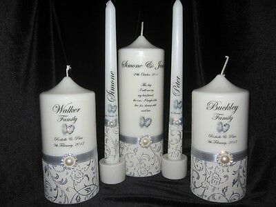 Personalised Wedding 5 Piece Round  Unity Candles White & Silver New Style