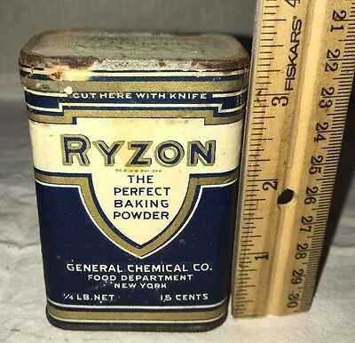 Antique Unopened Ryzon Baking Powder Tin Vintage Country Store Grocery Can Old