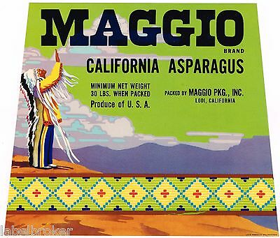 Crate Label Vintage Asparagus C1950 Original American Indian War Bonnet Lodi