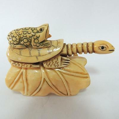 Detailed Carved Bone Turtle and Toad Sculpture Antique Art Collectibles Statue