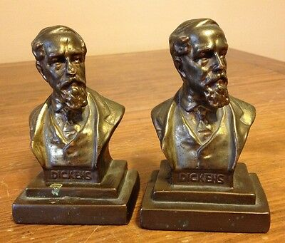 Dickens Bookends Pair Book Ends Cast Iron Vintage