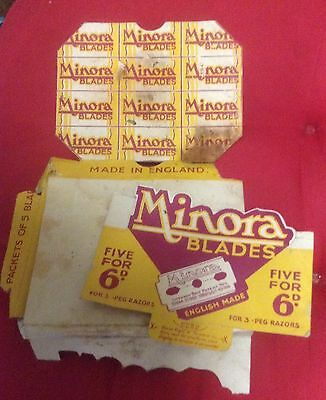 Vintage Old Minora Blades Cardboard Shop Counter Carton Made In England Box