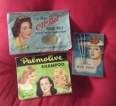 Vintage Old 1950s Hair Nets Hat Pins Palmolive Full Shampoo Hat Pins Packet X 3