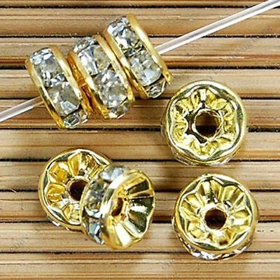 3x6mm Gold Plated Rondelle Clear Crystal Rhinestone Craft Spacer Beads 100pcs