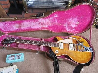 1959 Flame Top Sunburst Gibson Les Paul Electric Guitar & Hard Case, White Pafs.