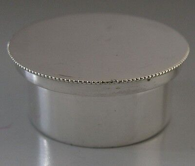 Quality English Sterling Silver Screw Top Pill Box 1961