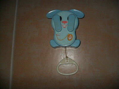 Vintage 1980 Tomy Peek A Boo Blue Bunny Musical Pull String Toy Baby Crib