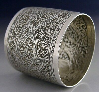 SUPERB ANGLO INDIAN STERLING SILVER NAPKIN RING c1890 EASTERN ANTIQUE