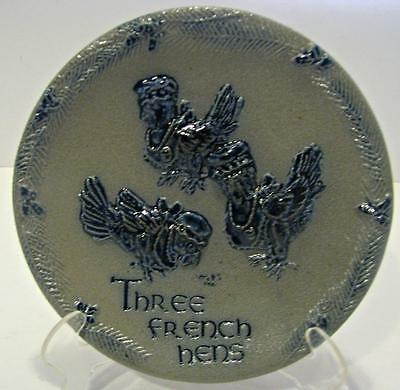 ROWE POTTERY 12 DAYS OF CHRISTMAS PLATE 3rd THREE FRENCH HENS