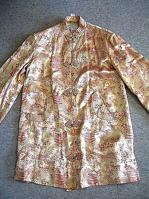 Vintage Peony Brand Asian Jacket Gold W/ Red Sz 36