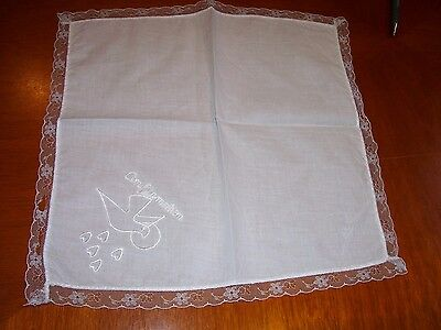 """Vintage Lace Edged Embroidered Handkerchief White Dove Hearts Confirmation 12"""""""