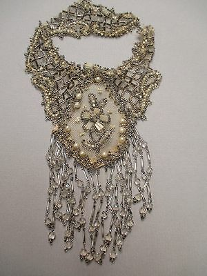 Edwardian Glass beaded Pearl appliqué fr Gown