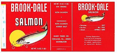 Original Tin Can Label Vintage Salmon 1960S Brook-Dale Chicago Illinois Emery