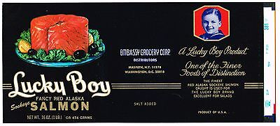 Original Tin Can Label Vintage Salmon 1960S Lucky Boy Ny D.c. Alaska Fished