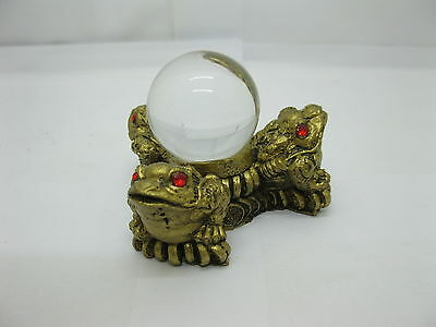 4X Chinese Fengshui 3 Money Toad Frog with Crystal Ball