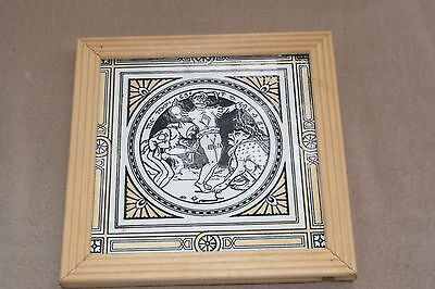 Framed MINTON Moyr Smith 8 inch Large SHAKESPEARE TILE The Tempest