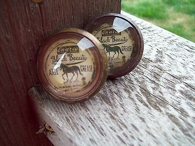 1 Pair Bridle Rosettes, Advertising Black Beauty Axle Grease.