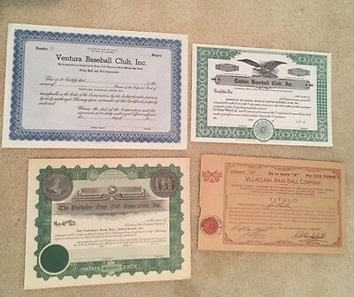 Dealer lot of four different, unissued baseball team stock certificates