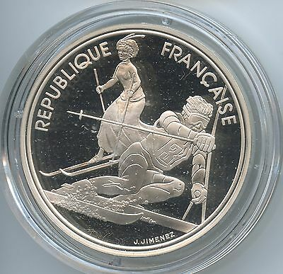 GS935 Frankreich 100 Francs 1990 KM#984 Olympiade Albertville 1992 Slalom Silber
