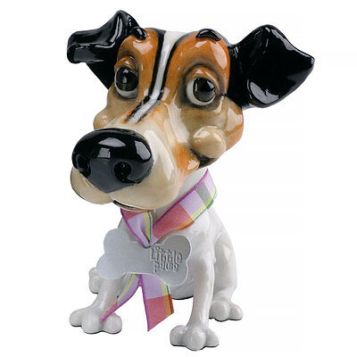 """Little Paws """"Wilf"""" Jack Russell Terrier Dog Figurine 4"""" High New In Box!"""