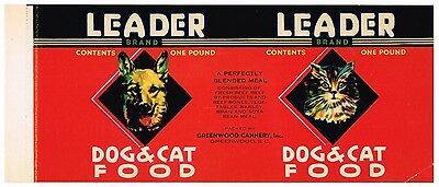 Vintage Can Label Cat Dog Food C1950S Leader Greenwood South Carolina Original