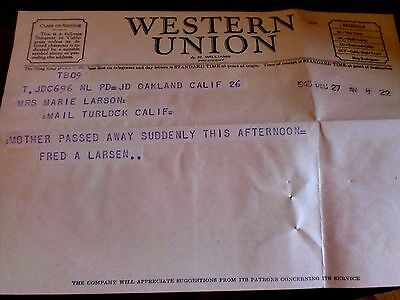 Vintage Aug 1922 Western Union Death Telegram Oakland Ca , Mother passed away